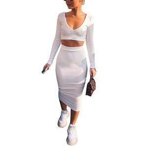 (Last 1)Long sleeve crop top & bodycon midi skirt